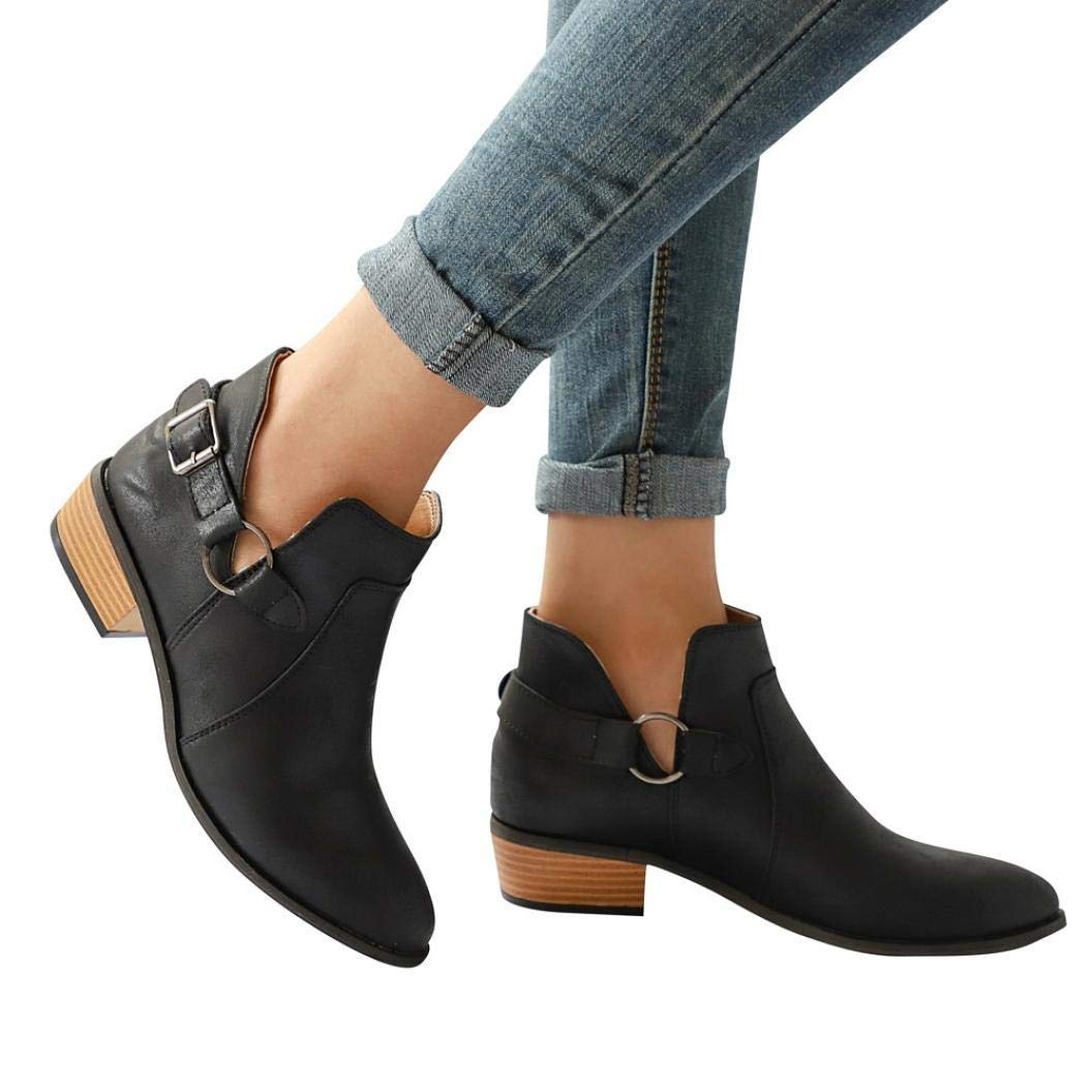 Gyoume Ankle Boots Women Boots Pointed Toe Black Boots Classic Ankle Boots Casual Flat Wedge Shoes