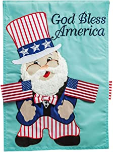 Evergreen Flag Beautiful Patriotic Uncle Sam Gnome Applique Garden Flag - 18 x 13 Inches Fade and Weather Resistant Outdoor Decoration for Homes, Yards and Gardens