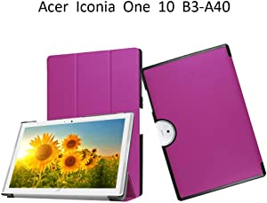 Acer Iconia One 10 B3-A40 Cover,Acer Iconia B3-A40 Case,[Scratch Resistant] Soft Slim Back Cover Folding Case for Acer Iconia One 10 B3-A40 Back Case,Purple