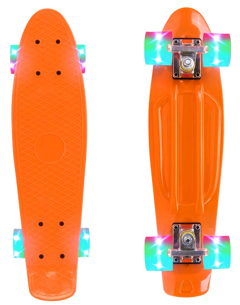 ChromeWheels Skateboard 22 inch Complete Skate Board Mini Cruiser with LED Light Up Wheels for Kids Boys Youths Beginners, Orange