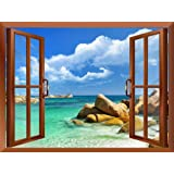 """Wall26 - Tropical Landscape Seychelles Paradise Removable Wall Sticker / Wall Mural - 36""""x48"""""""
