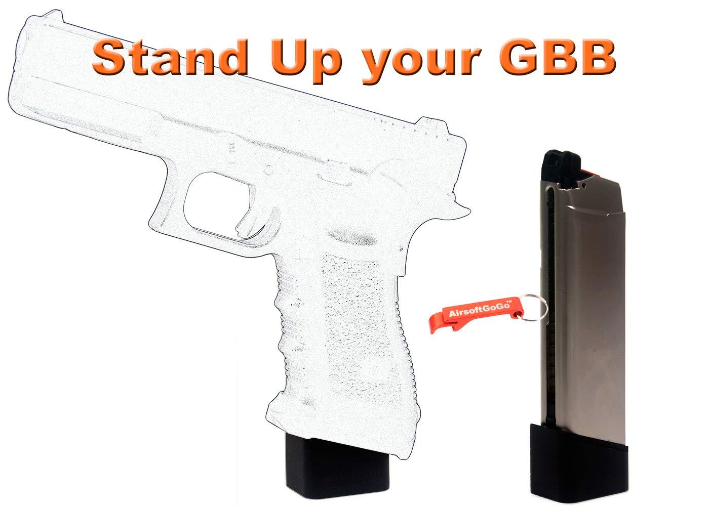 G35 Series Airsoft GBB Plata AGG X AMORER Works Custom Cargador con mag Base Stand para Marui /& We G17,G18c G34