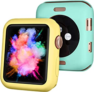 ZAROTO Compatible for Apple Watch 38mm Case, Screen Protector for Apple Watch SE 38mm Series 3 2, 2Pack Soft Bumper Protective Cover for iwatch 38mm (Yellow/Mint Green)