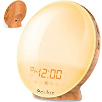 COULAX Wake Up Light 2019 Latest Wood Grain Sunrise Alarm Clock Sunset Simulation Night Light with Nature Sounds, FM Radio, Snooze Function and Atmosphere Lamp Function