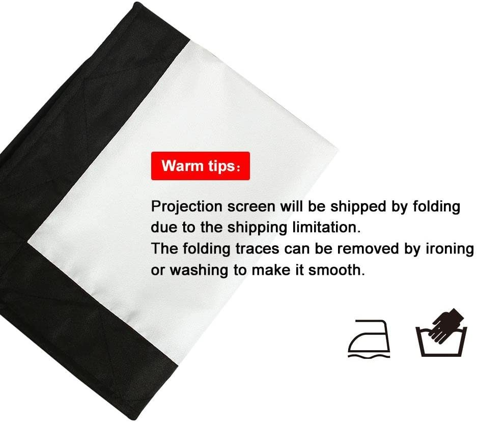 Movie Projection Screen Curtain Projector Matte White with 4-Side Black Edges 72in Richer-R 16:9 Indoor Outdoor Film Theater Lightweight and Folding 60, 72, 100, 120, 150 inch