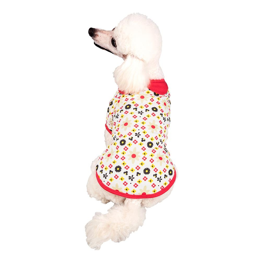 Back Length 16//41cm Pack of 1 Clothes for Dogs Blueberry Pet Red /& Sunshine Yellow Floral Cotton Dog Dress