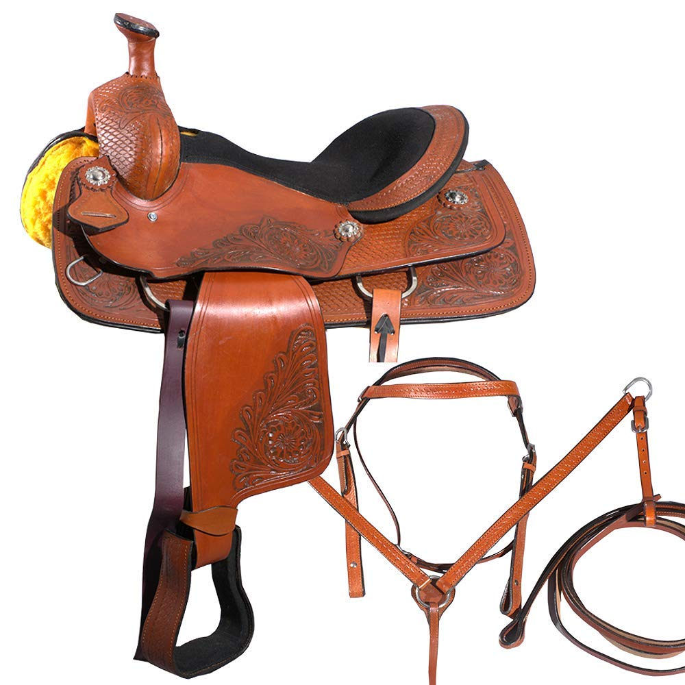 Manaal Enterprises Premium LEATHER Western Barrel Racing Horse Saddle Tack Get Matching Leather Headstall, Breast Collar, Reins Size 14' to 18' Inches Seat Available (16' Inches Seat)