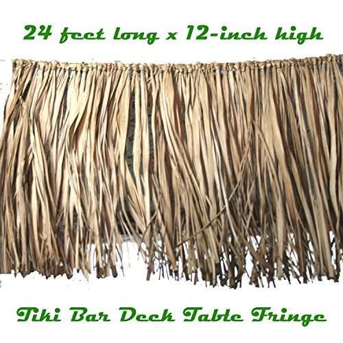 Tropical Luau Decoration REAL RAFFIA DECK FRINGE GARLAND Tiki Bar Grass Thatch (Raffia Trim)