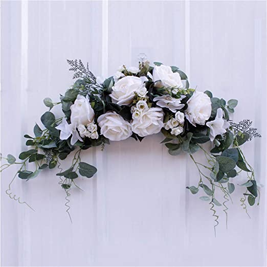 wang JESS Artificial Peony Flower Wreath,Artificial Spring Wreath for Front Door Wreath Spring Season Party Home Decoration