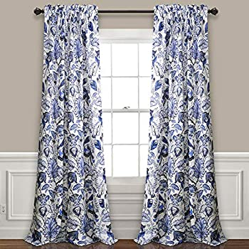 Lush Decor Cynthia Jacobean Room Darkening Window Panel Curtain Set (Pair), 84