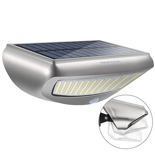 Lámpara Solar para Pared, SGODDE Luces Solares Sensor de Movimiento Impermeable 36 LED Cuentas de Lámpara/ 800 lm/ 4400 mAh/ 4 Módos para Patio, Jardín, ...