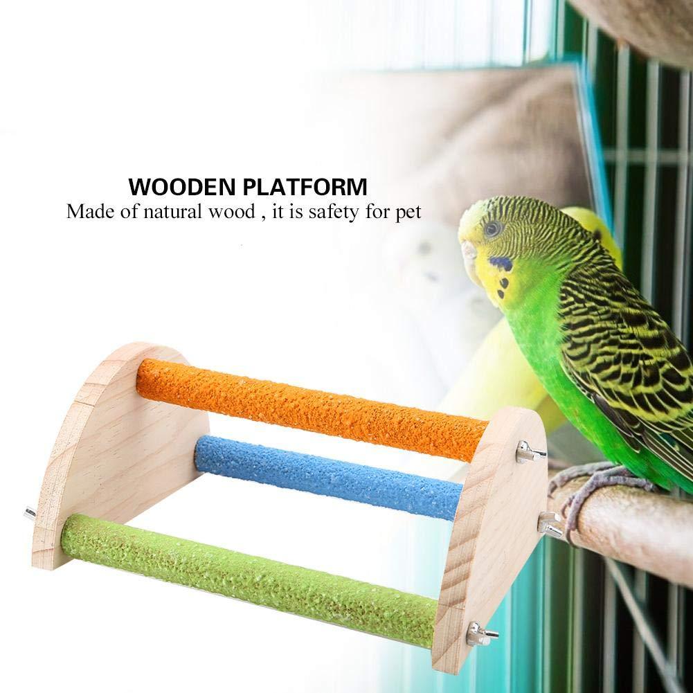 Plataforma de Entrenamiento Soporte de Madera Natural Rama de Juguete para Mascotas Pangding P/ájaro Perca de Madera Semic/írculo
