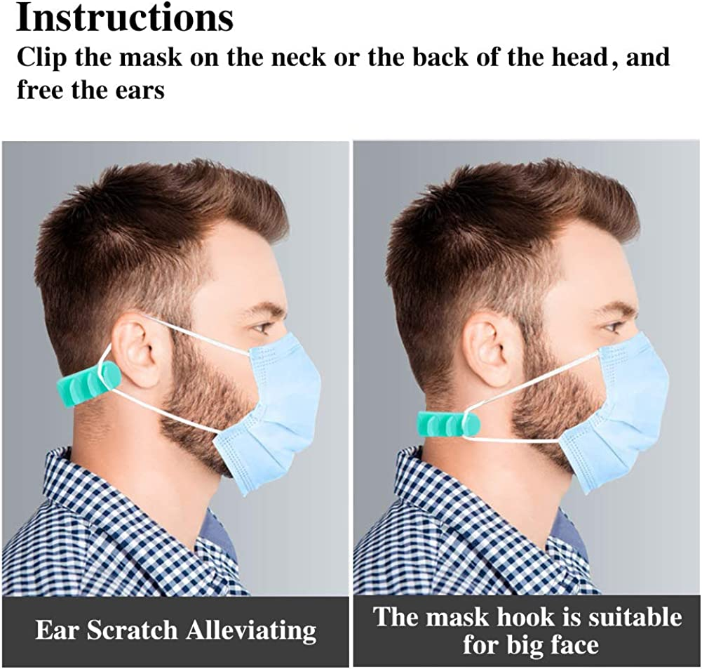 6PCS Great Alternative to Getting Ear Pain Mask Ear Hook Strap Buckle 5 Gears Adjustable Anti-Slip Ear Hook for Various Mask