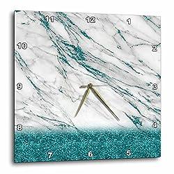 3dRose Luxury Grey Aqua Teal Gem Stone Marble Glitter Metallic Faux Print Wall Clock, 10 x 10