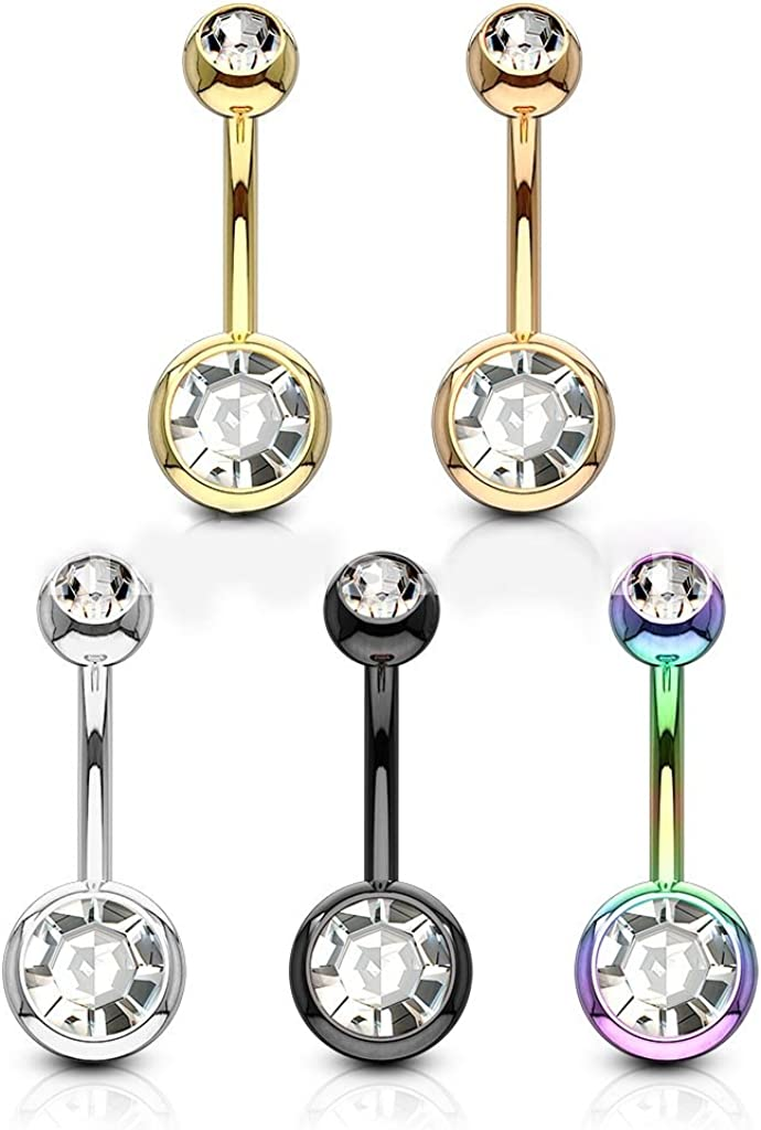 FIFTH CUE 14GA Black Titanium IP 316L Double CZ Barbell Belly Ring