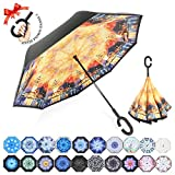 : ZOMAKE Double Layer Inverted Umbrella Cars Reverse Umbrella, UV Protection Windproof Large Straight Umbrella for Car Rain Outdoor With C-Shaped Handle(Impression of Journey)