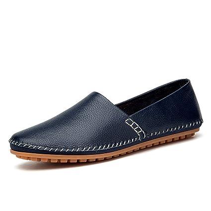 Xiazhi-shoes, Mocasines Ligeros de Cuero Suave Ocasionales de los Hombres Transpirables Un Pedal