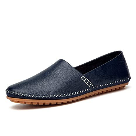 Hongjun-shoes, Mocasines Ligeros de Cuero Suave Ocasionales de los Hombres Transpirables Un Pedal