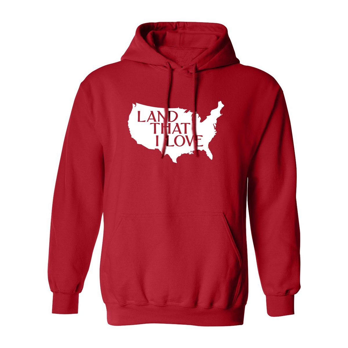 Land That I Love Adult Hooded Sweatshirt in Red - XXXX-Large