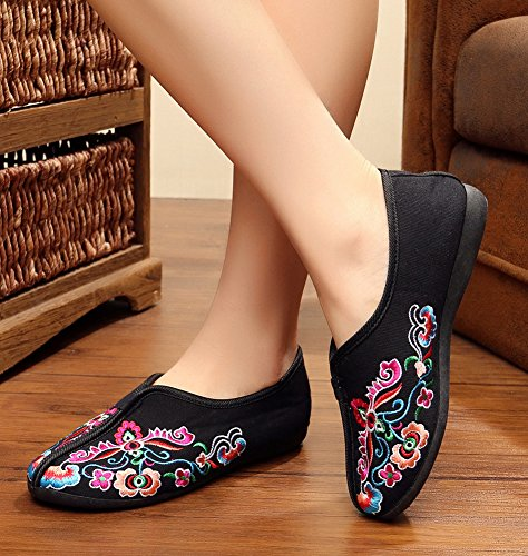 Embroidery Womens Beijing Outdoor AvaCostume Black Walking Casual Old Shoes Oaxwcgv
