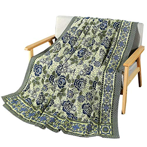 ANswet Jacquard Throw Blanket, 100% Polyester Sheet,85x95inch,Luxurious Woven Sheets,Multi-Purpose Dust-Proof Sofa Blanket,Never Deformed, Quick-Drying, Machine-Washable(Blue)