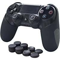Skin for PS4 Controller SmartFire Soft Silicone Thicker Half Skin Cover for PS4/PS4 Slim/PS4 Pro Controller (Black skin X 1 + FPS Pro Thumb Grip X 8)