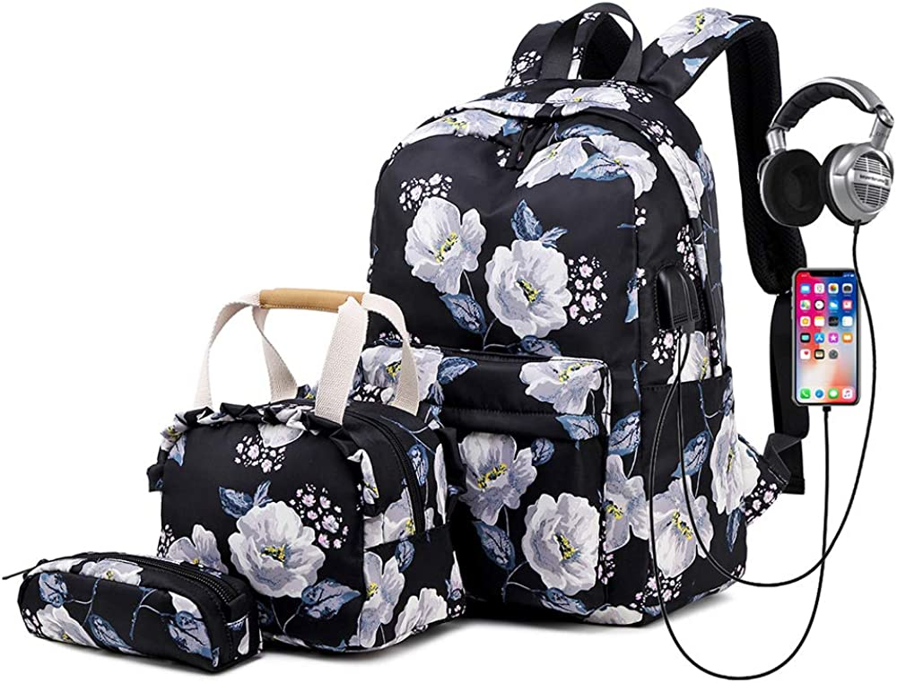 "Lmeison Backpack Set, Canvas Girls Bookbag 15"" Laptop Backpack"
