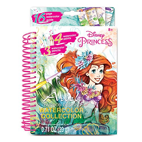 Make It Real  Disney Ariel Watercolor Small. Disney Inspired Coloring Book for Girls. Includes Ariel Watercolor Sketchbook, Paintbrushes, Watercolor Paints, Stencils, Stickers, and Design Guide