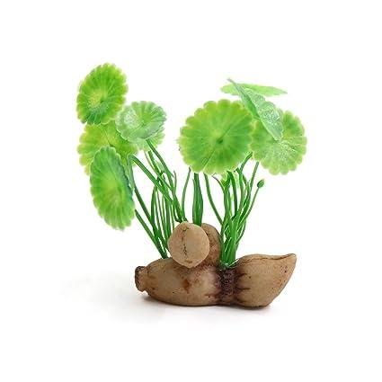 sourcingmap Verde De Plástico Mini Acuario Planta Betta Tanque Ornamento Pecera W/Base De Cerámica