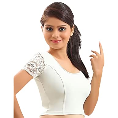 e5a5990866f86 Amazon.com  Designer Crope Top Women Choli Indian Lycra Stretchable White  Blouse Wedding Party Wear Best Match for Saree By thnic Emporium  Clothing