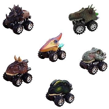 Faylapa Juego de 6 Juguetes Dinosaurios para Autos, Autos Dinosaurios con Ruedas y Ruedas de neumáticos Grandes para niños de 3-15 años: Amazon.es: Juguetes ...