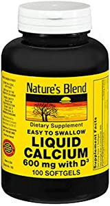 Natures Blend, Easy to Swallow, Liquid Calcium, 600mg, 100ct