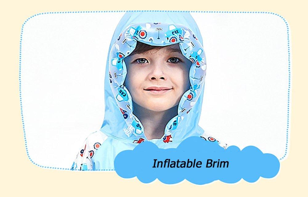 SITENG Girls Boys Kids Children Inflatable Hooded School Backpack Rain Jacket Raincoats Ponchos by SITENG (Image #4)