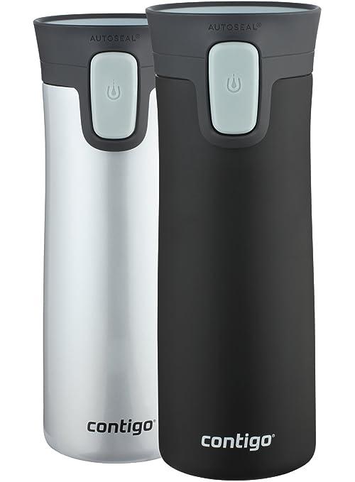 8cfd26e9cf8 Amazon.com: Contigo AUTOSEAL Pinnacle Vacuum-Insulated Stainless Steel Travel  Mugs, 14 oz, Polar White & Matte Black, 2-Pack: Kitchen & Dining