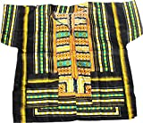RaanPahMuang Brand Unisex Childrens African Dashiki Throw Over Shirt, X-Small, Black Border Orange