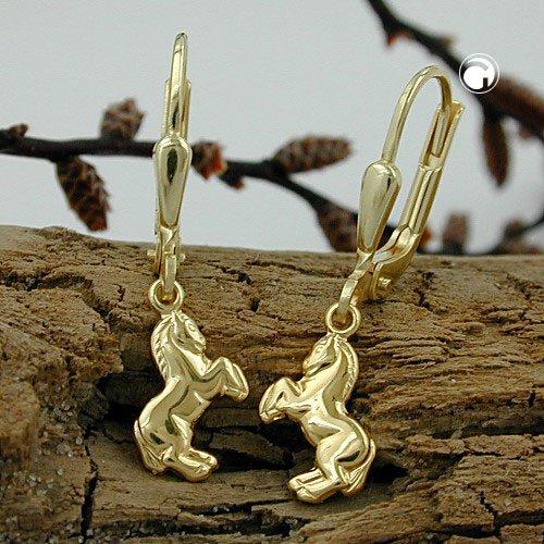 Or jaune 333 8 carats Pour enfant Boucles doreilles avec chevaux Fermoir/: dormeuse