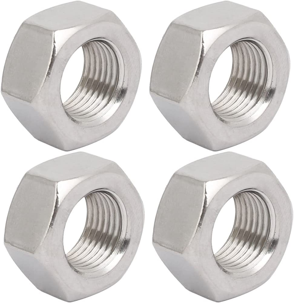 uxcell 4pcs M20 x 1.5mm Pitch Metric Fine Thread 304 Stainless Steel Hex Nuts