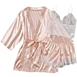 SOLY HUX Women's Plus Size 3pcs Satin Sleepwear Floral Lace Trim Cami Top and Shorts Pajama Set with Belted Robe