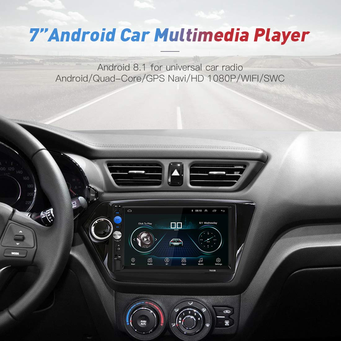 MiCarBa Double DIN Car Stereo Bluetooth Radio Video Player 7 Pulgadas HD Car Video Stereo Soporte Android Phone Mirror Link. CL7043