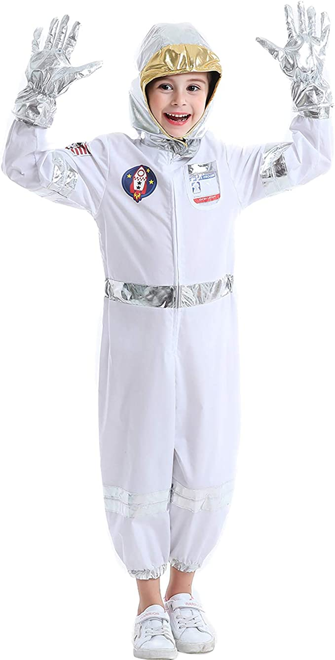 Fedio Children's Astronaut Costume Set Space Role Play Dress up Set for Toddlers Kids Ages 3-6 White
