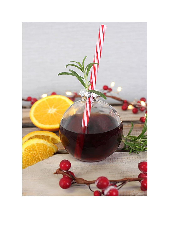 12/Festive Christbaumkugel Cocktail Gl/äser mit Trinkhalme