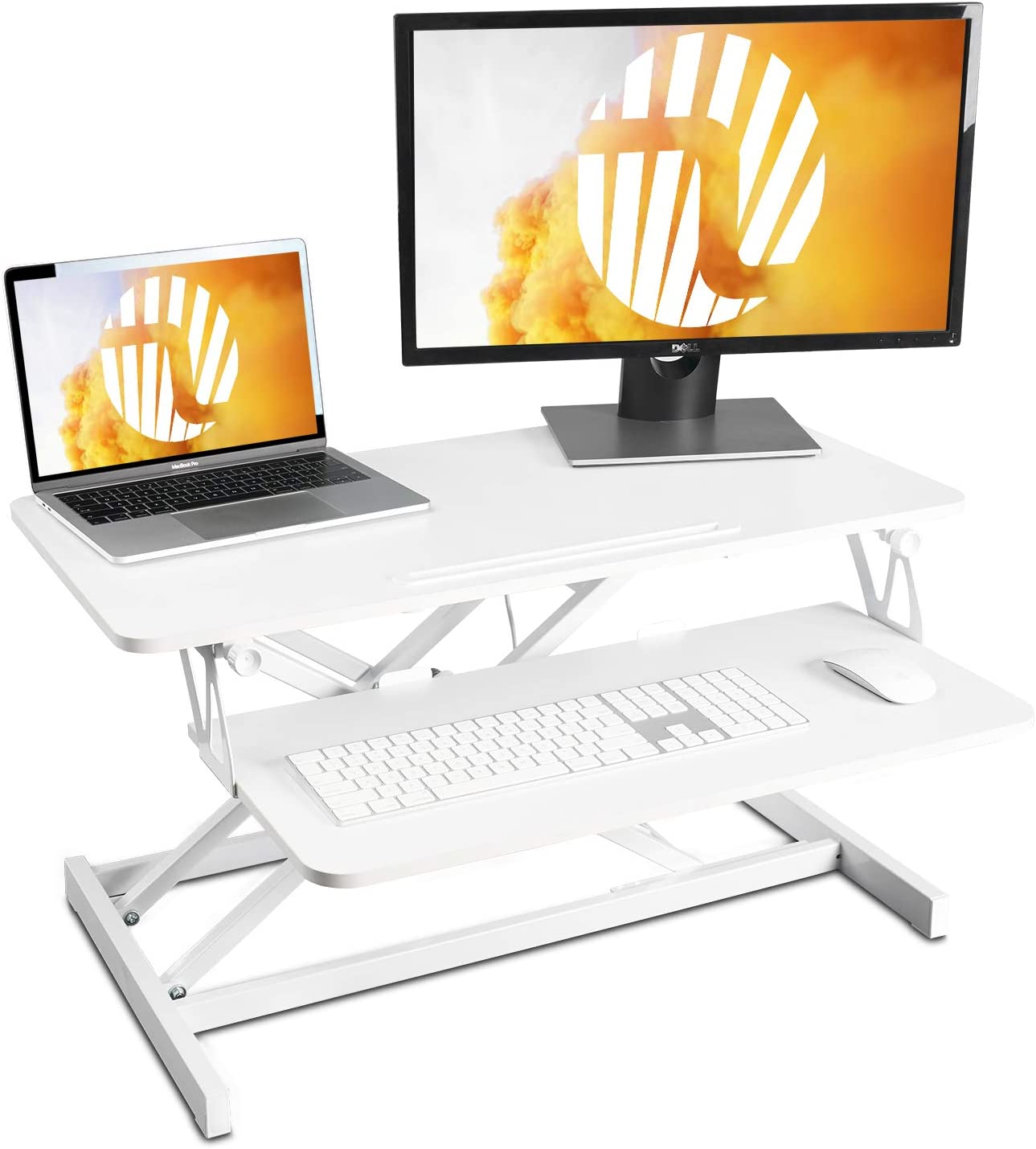 FEZIBO Standing Desk with Height Adjustable – 32 inches White Sit Stand Desk, Ergonomic Tabletop Workstation Riser