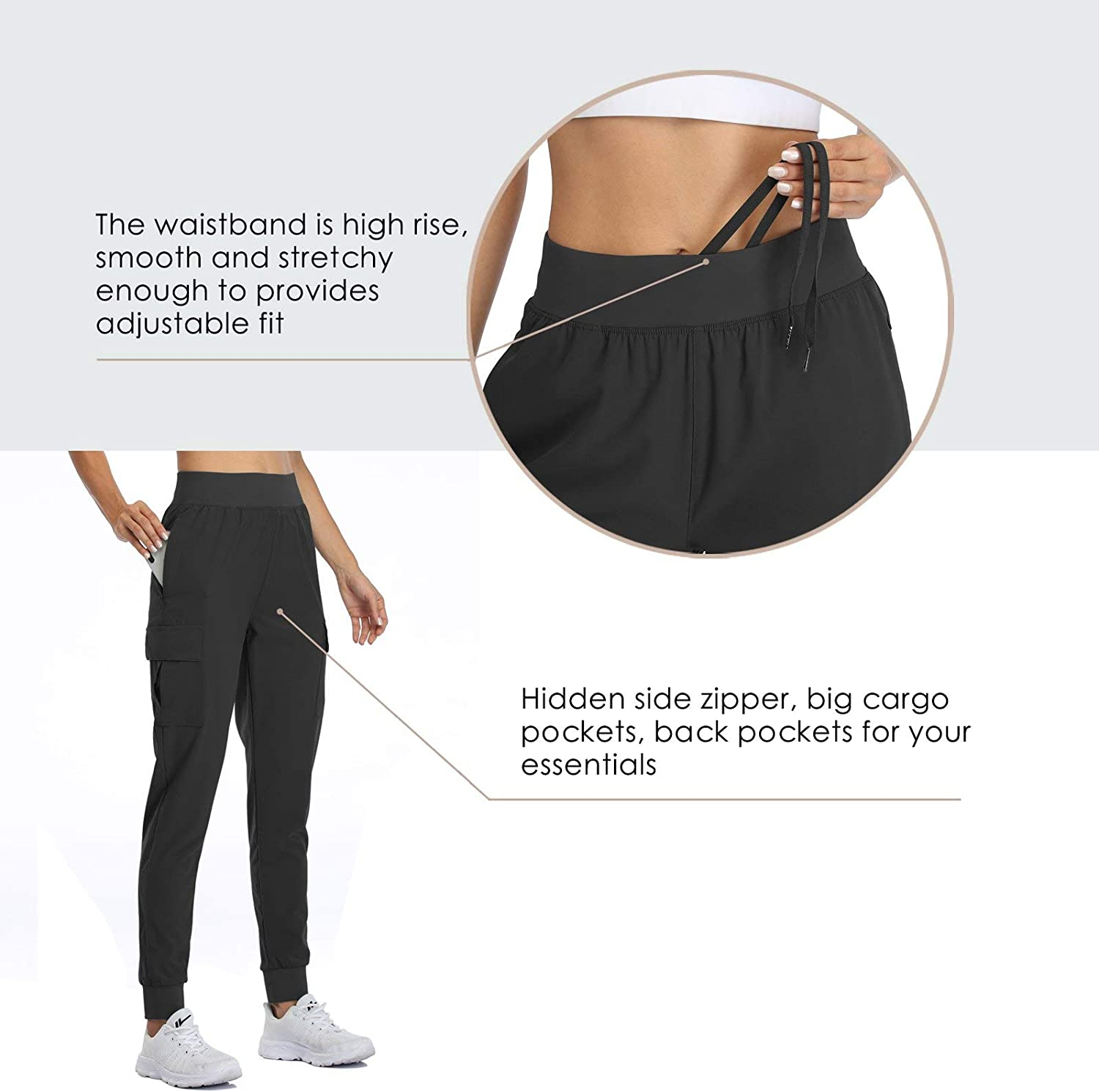 Willit Womens Lounge Joggers Cargo Sweatpants Quick Dry Yoga Athletic Workout Pants Drawstring Pockets