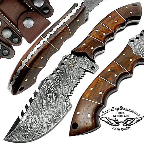 Rose Wood 9.5'' Fixed Blade Custom Handmade Damascus Steel Tracker Hunting Knife Brass Pins Spacers Unique Beautiful File Work On Handel Come with Leather Sheath 100% Prime Quality