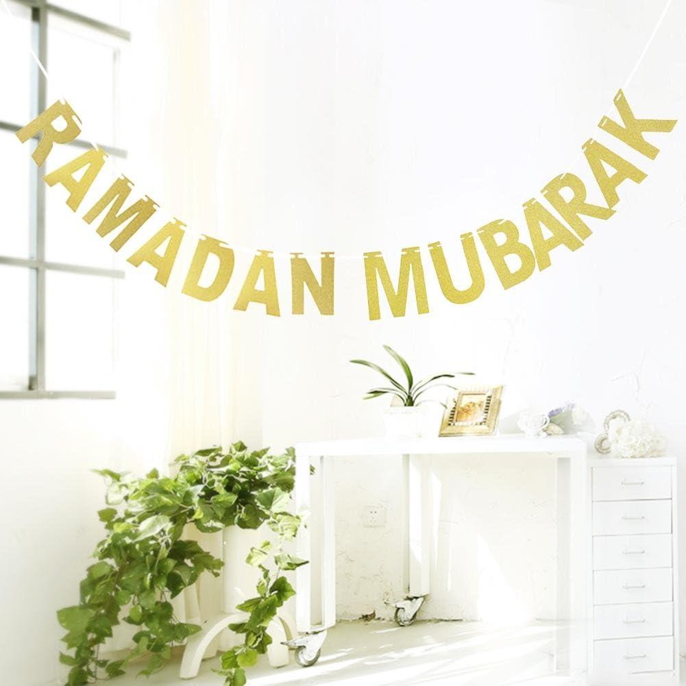 Hearthrousy Eid al-Fitr Ramadan Mubarak Guirlande Banni/ère Banderole Drapeau Suspendu de d/écoration Lettre dor Ramadan Maison Guirlande dornements