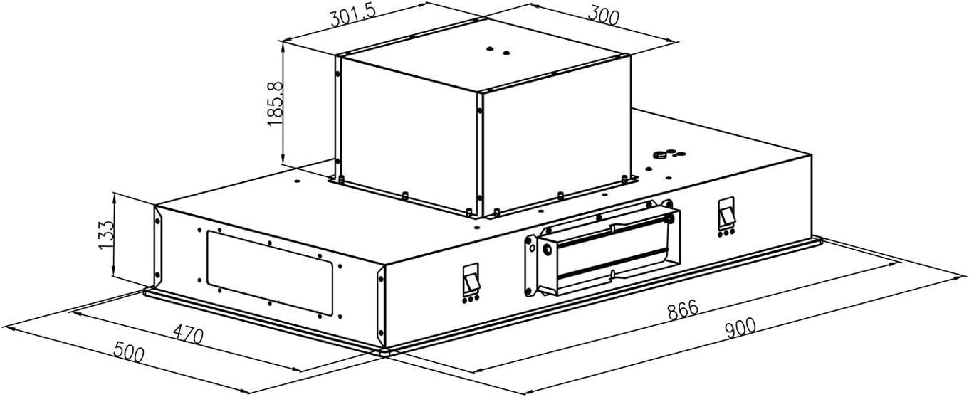Klarstein Remy - Campana extractora, Bajo mueble, Campana para techo, 90 cm de ancho, Modo aire circulante, Potencia de extracción de 620 m³/h, Filtros anti grasa de aluminio, Negro: Amazon.es: Grandes electrodomésticos