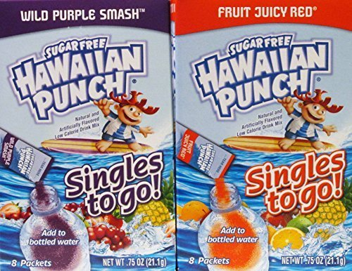 Hawaiian Punch Sugar Free Singles to Go Wild Purple Smash and Fruity Juicy Red Drink Mixes (6 Pack) by Hawaiian Punch