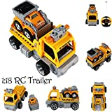 Gbell 1:18 Car Large Building Block RC Trailer,3D Vehicle Puzzle Educational Toy for Kids Boys 8+ (Yellow)