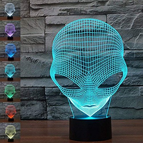 WONFAST 3D Lamp USB Power 7 Colors Amazing Optical Illusion 3D Grow LED Lamp Alien Shapes Children Bedroom Night Light by Saiam