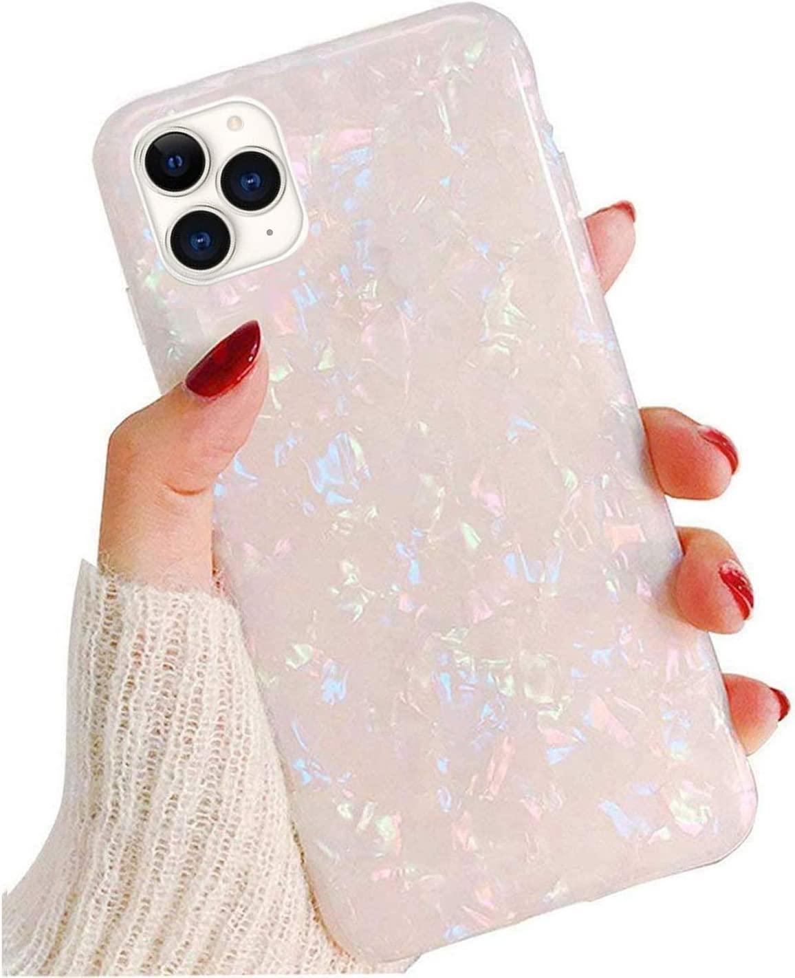 GYZCYQ iPhone 11 Pro Max Case for Girls Women, Cute Phone Case Glitter Pretty Design Protective Shockproof Pearly-Lustre Shell Slim Soft TPU Rubber Cover for iPhone 11 Pro Max (6.5 inch)-Colorful